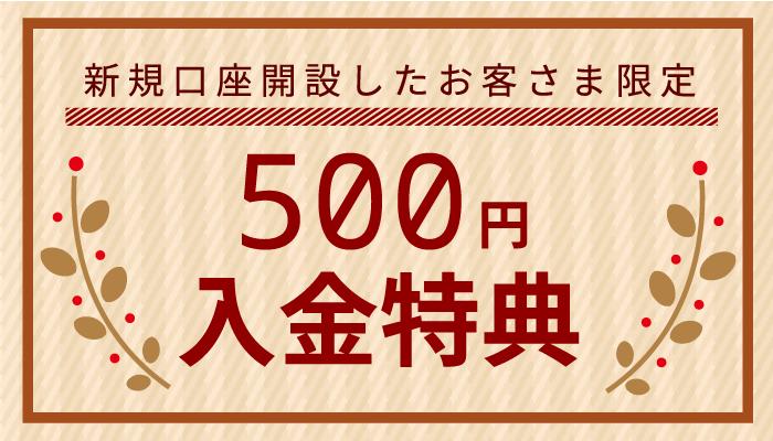 SBIFXトレード 新規口座開設特典 500円入金